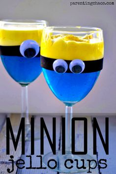 Minion Jello Cups: A mischievously delicious treat that the Minion lover in your life will adore! Minion Party Essen, Minion Party Food, Minion Theme, Minion Birthday, 3rd Birthday, Birthday Ideas, Jello Gelatin, Jello Cups, Minion Craft