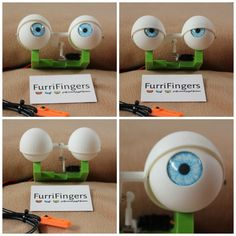 These animatronic eyes for puppets have been hand designed and printed using ABS filament and polished to a smooth matte finish, on a printer. Each eyelid measures across and the eye is Marionette, Puppet Training, Ventriloquist Puppets, Professional Puppets, Dragon Puppet, Puppet Crafts, Puppet Making, Hand Designs, Stop Motion