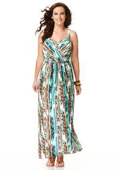 Mixed Stripe Maxi Dress, Plus Size