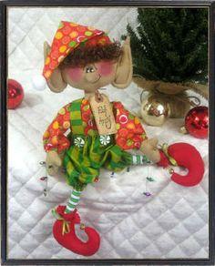 "Primitive Folk Art Christmas 15""~""ELF ANDY""~Santa's Littlest Elf"