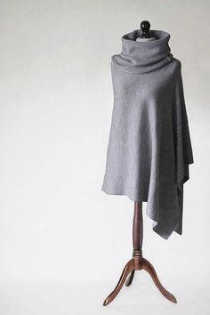 Women's cape, Poncho for sensitive skin,acrylic poncho,gray poncho,gray scarf,gray cape,women's sweater,knit scarf,wrap women's,knit sweater