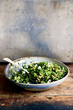 Roasted broccoli salad with pine nuts, raisins, and feta.