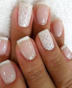 30 Astonishingly Pretty Lace Nail Art Designs | French manicure with gorgeous lace effect ! http://www.feminiya.com/30-astonishingly-pretty-lace-nail-art-designs/