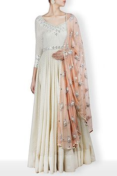off white anarkali with mirror emboidery on neck and sleeves,net dupatta with dori amd mirror embroidery #Mirror #work #anarkali #heavy #dupatta #AbhinavMishra #CarmaOnlineShop #WorldWIdeShipping #FestiveSeason #ShopNow