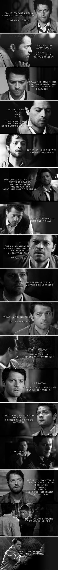 So yes, I know that love is unconditional. But I also know that it can be unpredictable, unexpected, uncontrollable, unbearable and strangely easy to mistake for loathing, and… #spn #destiel