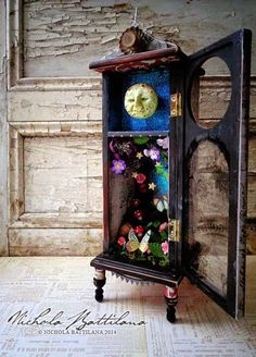 jewelry box, Clockless Moon Clock, by Nichola Battilana of Pixie Hill. - Kleinmöbel - Repurposed jewelry box, Clockless Moon Clock, by Nichola Battilana of Pixie Hill. Shadow Box Kunst, Shadow Box Art, Altered Boxes, Altered Art, Jewelry Armoire, Jewelry Box, Jewelry Holder, Diy Jewelry, Vintage Jewelry