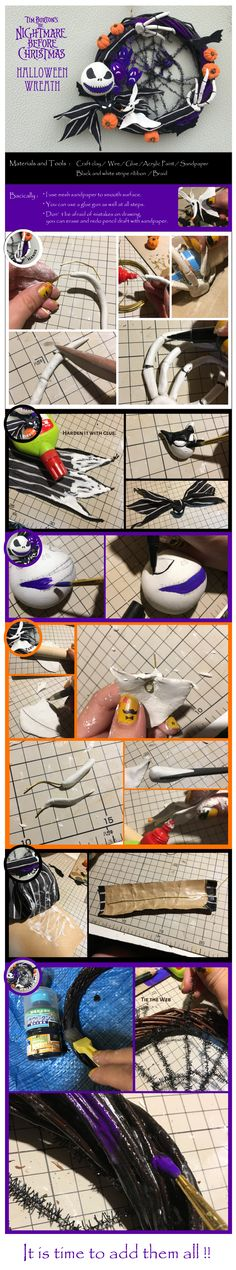 "Tutorial for making of ""Tim Burton's the Nightmare before Christmas"" DIY Halloween wreath"