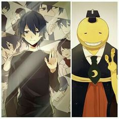 Korosensei, glass mirror screensaver, human form, collage; Assassination Classroom