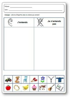 Les 5 sens : l'ouïe - school outfits Learning French For Kids, Teaching French, Kids Learning, Senses Activities, Kindergarten Activities, Educational Activities, Teaching Music, Teaching Science, Teaching