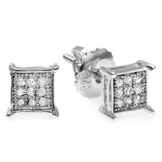 Platinum Plated Silver Diamond Accent Micro Pave Hip Hop Iced Square... ($37) ❤ liked on Polyvore featuring jewelry, earrings, white, silver screw back earrings, screw back stud earrings, white earrings, silver stud earring sets and stud earrings