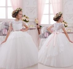 2016 New Princess Flower Girl Dresses For Weddings Cap Sleeve Ball Gown Floor Length Cheap Pageant First Communion Dress For Teens Child