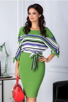 3ec798a9fe6f Rochie Leonard Collection verde cu dungi albe si albastre. Iveta Halasova ·  elegantné šaty