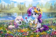 Sweetie belle and Rarity My Little Pony Fotos, My Little Pony Games, My Little Pony Rarity, My Little Pony Cartoon, My Little Pony Pictures, Mlp Rarity, Disney Collage, Sweetie Belle, Beautiful Unicorn