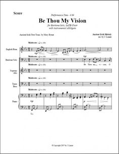 $2.50 per copy Be Thou My Vision for Bass or Baritone Solo, Wind Instrument Obbligato, SATB Chorus, and Piano Be Thou My Vision, Choir, The Voice, Bass, Piano, Sheet Music, Greek Chorus, Choirs, Pianos