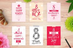 8 march cards set. Happy women's day by pa3x on @creativemarket