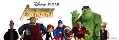 The Avengers Pixar styled Frozono as Nick Fury King Fergus as Thor Elastic Girl as The Black Widow Mr. Incredible as Captain America Sully as The Hulk Charles F. Muntz as Iron Man Horst as Hawkeye Film Pixar, Pixar Characters, Pixar Movies, Avengers Characters, Disney Pixar, Disney Marvel, Walt Disney, Hulk, The Avengers