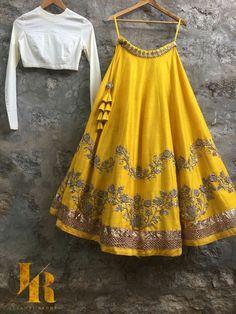 A pretty yellow lehenga skirt is rare.