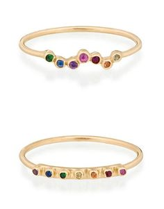 Celine Daoust rings in gold with rainbow sapphires