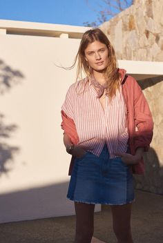 Madewell Prospect Jacket in Spiced Rose, Central Tie-Back Shirt in Rose Stripe and Pieced McCaren Raw-Hem Jean Skirt