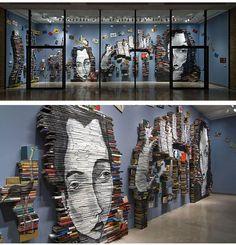 books, books, books. Artist Mike Stilkey