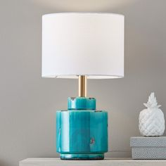 Buy Fabric table lamp Cous with ceramic base ✓Top-rated service ✓Comfortable & secure payment Years of experience ✓Order now! Textiles, Blue Table Lamp, Table Lamps, White Light Bulbs, Wall Plug, Distressed Painting, Buy Fabric, Bedside Lamp, Beautiful Lights