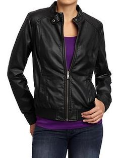 Women's Faux-Leather Moto Jackets   Old Navy