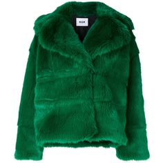 MSGM Spread Collar Jacket (€785) ❤ liked on Polyvore featuring outerwear, jackets, msgm, green jacket and msgm jacket