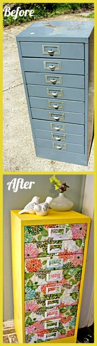 Transform an old filing cabinet into a modern furniture piece! This is a great idea for storing craft supplies like scrapbook paper, stamps, stickers, paints  more!