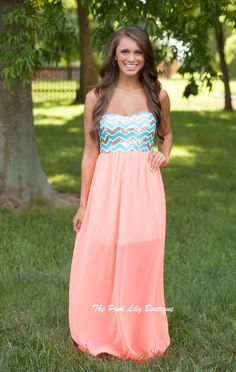 The Pink Lily Boutique - Little Bit Of Heaven Maxi Neon Coral, $38.00 (http://thepinklilyboutique.com/little-bit-of-heaven-maxi-neon-coral/)