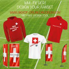 Design dein Fanset! Free Desgn Tool und Infos unter: www.akhof-onlinedruckerei.ch #textildruck ##party #event #fanset #design #poloshirt #hoppschwiiz #tshirt #hoodie #rollup #beachflags #hingucker #swissmade #kundengewinnung #malwasneues #geschenkideen #geschenke #fussballwm #worldcup #russia_ww #russia2018 #fandrinks #fanfest #fanparty #fanshirt #swissfans #printdesign Russia 2018, Flyer, Party, Tops, Design, Textile Printing, Printing, Gifts, Shell Tops