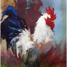 Rooster Abstract Painter | Title: Rooster III Charles Original Abstract Rooster Painting, Rooster Art, Abstract Painters, Abstract Art, Tableaux D'inspiration, Birds And The Bees, Pastel, Chicken Art, Chickens And Roosters