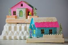 Vintage Putz Pink and Blue Christmas House  Glitter by TheZoeBird, $29.00
