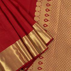 Ghanshyam Sarode Mexican Red Handwoven Kanchipuram Silk Saree with Zari Border 10002166 - AVISHYA Red Saree, Saree Dress, Maroon Saree, Sari, Bridal Blouse Designs, Saree Blouse Designs, Dress Designs, Soft Silk Sarees, Cotton Saree