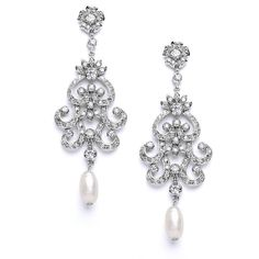 Mariell Gatsby-Style CZ Vintage Wedding Chandelier Earrings for Brides... (165 DKK) ❤ liked on Polyvore featuring jewelry, earrings, cubic zirconia dangle earrings, cubic zirconia earrings, cubic zirconia chandelier earrings, bridal earrings and freshwater pearl earrings