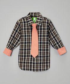 dd10616a3ab Future Trillionaire Brown Plaid Button-Up   Peach Tie - Boys