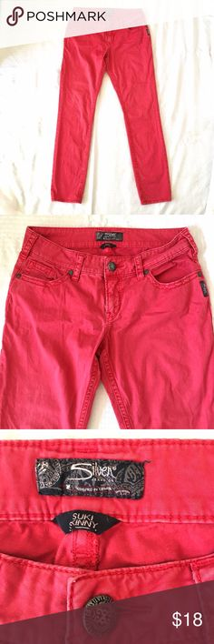 """SILVER Suki Skinny Jeans Red Stretch Cotton SILVER, Size 29W x 31L, Suki Skinny Jeans in soft brushed Red Stretch Cotton. 5-pocket classic style, zip/button fly, straight skinny legs, 8"""" rise from crotch. Excellent Condition, perfect update for Spring/Summer! BUNDLE and SAVE Silver Jeans Jeans Skinny"""
