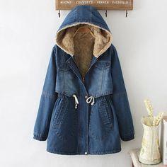 autumn winter fur fleece hooded cotton denim slim vintage harajuku giacche donna denim ethnic boho chaqueta women jacket coat #Affiliate
