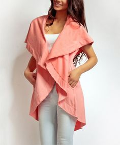 Loving this Peach Hooded Open Cardigan on #zulily! #zulilyfinds