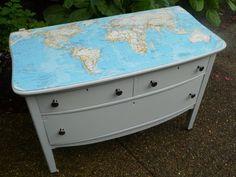 Map decoupaged dresser- perfect for office desk