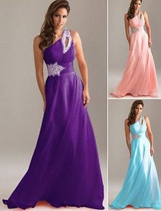 Fashion sexy Formal Evening Party Gown Bridesmaid Prom Dress Chiffon Size 6-14