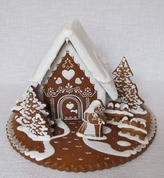 Today we are looking at Moravian and Bohemian gingerbread designs from the Czech Republic. Back home, gingerbread is eaten year round and beautifully decorated cookies are given on all occasions. Gingerbread House Designs, Gingerbread Village, Christmas Gingerbread House, Gingerbread Man, Gingerbread Cookies, Christmas Desserts, Christmas Baking, Christmas Cookies, Cookie House