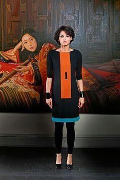 Kostenloses Schnittmuster Colorblocking Kleid