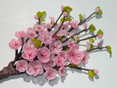 Cherry Blossom French Beaded Flower Arrangement by BeadedFleur, $75.00