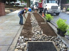 New York Plants Curbside Gardens to Soak Up Storm-Water Runoff Urban Landscape, Landscape Design, Garden Design, Rain Garden, Water Garden, Urbane Analyse, Lancaster, Drainage Solutions, Green Street