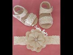 Sandália em renda e feltro para bebês, feito a mão. - YouTube