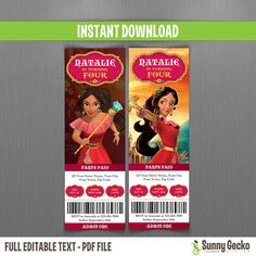 Elena of Avalor Birthday Ticket Invitations  by SunnyGeckoDesign
