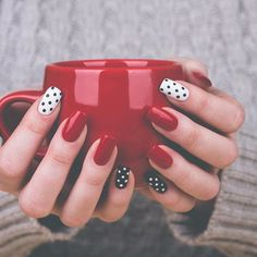Hold your mug with holiday nails! We have expert nail technicians at our locations. Just call and schedule your appointment today or head to our website <link in bio>