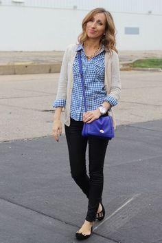 casual wear   black skinnies, blue & white checkered shirt, cardi ...