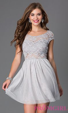 Short Scoop Neck Cap Sleeve Dress with Lace Bodice at PromGirl.com