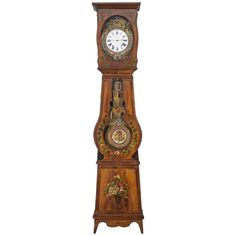 19th Century French Comtoise or Grandfather Clock | From a unique collection of antique and modern clocks at https://www.1stdibs.com/furniture/decorative-objects/clocks/